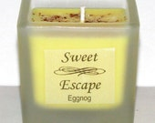 Sweet Escape 1.8oz Eggnog Scented Votive Christmas Candle in Square Frosted Glass Container Made with All Natural Soy Wax