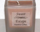 Sweet Escape 1.8oz Hazelnut Coffee Scented Votive Candle in Square Frosted Glass Container Made with All Natural Soy Wax