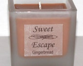 Sweet Escape 1.8oz Gingerbread Scented Votive Christmas Candle in Square Frosted Glass Container Made with All Natural Soy Wax