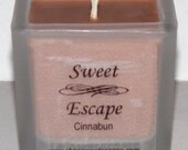 Sweet Escape 1.8oz Cinnabun Scented Votive Candle in Square Frosted Glass Container Made with All Natural Soy Wax