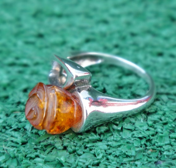 FREE RESIZE Unique Sterling Silver Ring With Amber