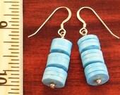 SALE - Sterling Silver Turquoise Disk Earrings ER1