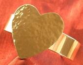 Valentine Heart Cuff Bracelet - Bronze Metal Jewelry BR-14