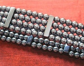 SALE - Hematite Beads - Stretch Bracelet -  BR-28
