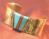 Turquoise Jewelry - Hammered Turquoise Bracelet Cuff - Southwestern Turquoise Jewelry BR-56