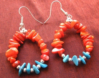Turquoise Jewelry, Red Coral and Turquoise Earrings - Coral Jewelry ER-12