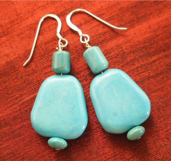 SALE - Turquoise Earrings Sterling Silver - Turquoise Jewelry ER-3