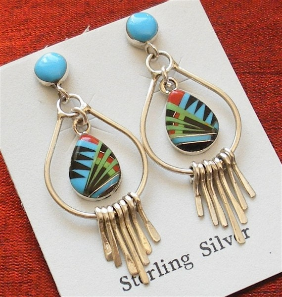 Sterling Silver Jewelry - Inlaid Sterling Silver Earrings - Designer Jewelry ER-23