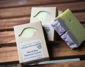 Natural Soap, Olive Oil Soap, Peppermint Lavender, 4.5 oz., FREE SHIPPING, made with organic oils  by Green Bubble Gorgeous on etsy