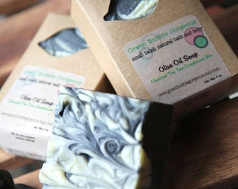 Activated Charcoal Complexion Soap, made with organic oils and tea tree, FREE SHIPPING, by greenbubblegorgeous