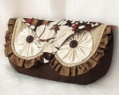 Silk Owl Clutch Bag - Luxury all Silk with Vintage Kimono Woodland Hoot - Made To Order-LAST ONE