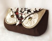 Silk Owl Clutch Bag- Luxury all Silk with Vintage Kimono Woodland Hoot