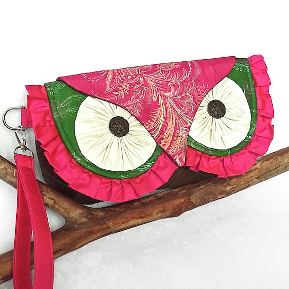 Silk Owl Clutch Bag- Vintage and New Silk with Contrast Quilting and Wrist Strap - READY TO SHIP