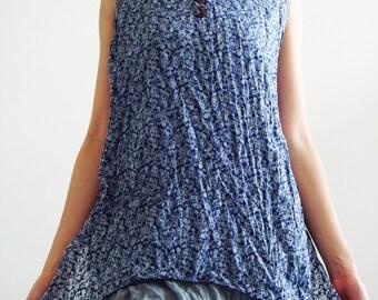 B6, Two Layers Sleeveless Cotton Blouse, dark blue blouse