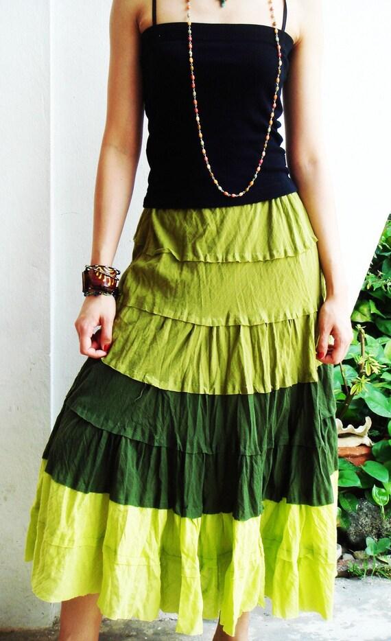 Wavy Summer Spring Sexy Green Cotton Skirt, green skirt
