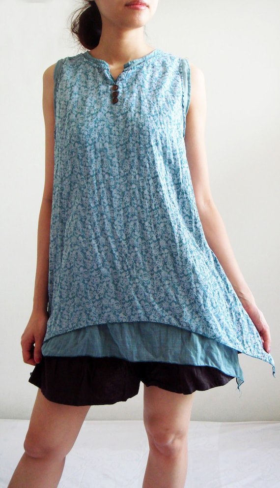 Blue Sky Two Layers Sleeveless Blue Cotton Blouse,blue blouse