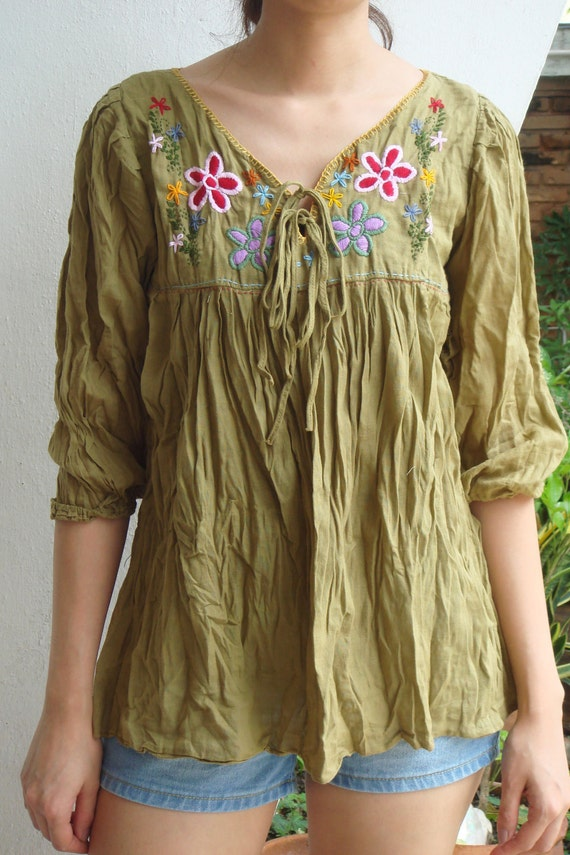 Flowers Embroidery Mustard Yellow Cotton Blouse, yellow blouse