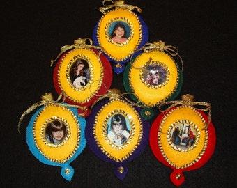 Felt applique kit for picture frame Christmas ornaments (makes 6)