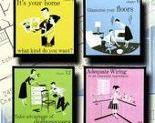 1950s Home Retro Decorating Coaster Set Housewarming Gifts Under 20