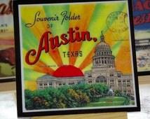Texas Coaster Set , Wood Drink Coasters, Houston, Galveston, Austin, West Texas, Hostess Gift, Lone Star State Coaster, Texas State Pride