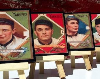 New York Yankees Baseball Card Coaster Set, NY Yankees Wood Coasters, Sports Decor, Man Cave Decor, Father's Day Gift Idea, Set of Four