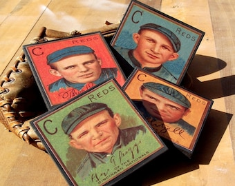 Cincinnati Reds Baseball Card Coaster Set Sports Decor Wood Coasters