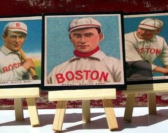 Boston Red Sox Baseball Card Coaster Set, Wood Coasters, Baseball Coasters, Man Cave Decor, Father's Day Gift Idea