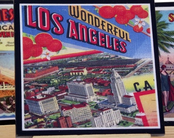 Coaster Set, Los Angeles  Postcards, California Coasters, Retro Los Angeles Wood Coasters, Hostess Gift, Postcard Art, Beach Living Decor,