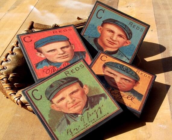 Cincinnati Reds Baseball Card Coaster Set Sports Decor Wood Coasters