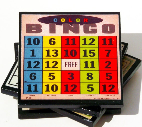 Retro Bingo Card Coaster Set, Game Room Decor, Wood Drink Coasters, Game Night Party Favor, Hostess Gift,  Board Game Cards, Gift Under 20