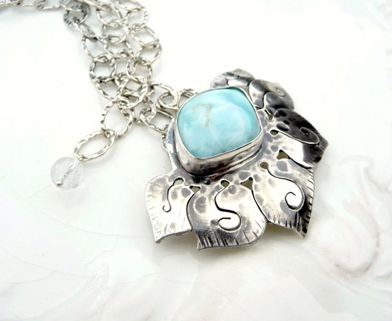 Tropical Laramar Lotus - Rare Larimar Stone with Sterling Silver with Designer Chain - one of a kind