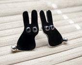 Bunny RABBIT Stud Earrings Black Oxidized Sterling Silver Mini Zoo