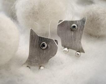 PUPPY Stud Earrings Sterling Silver Mini Zoo.