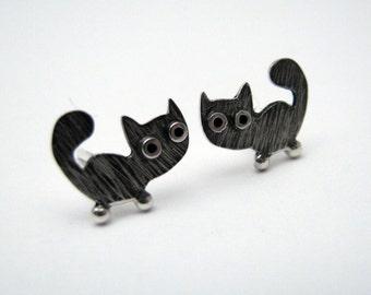 Kitty CAT Stud Earrings Sterling Silver Oxidized Black Mini Zoo series