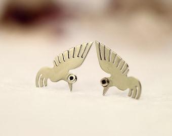 HUMMINGBIRD Stud Earrings Sterling Silver Mini Zoo series