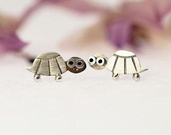 TURTLE Stud Earrings Sterling Silver Mini Zoo series