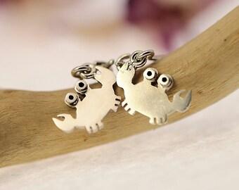 Crab Dangle Earrings Sterling Silver Mini Zoo series