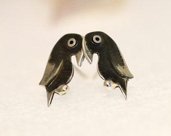 PARROT Sterling Silver Oxidized Black Stud Earrings Mini Zoo series