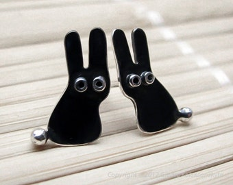 Bunny RABBIT Stud Earrings Black Oxidized Sterling Silver Mini Zoo