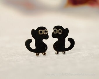 MONKEY Silver Stud Earrings Mini Zoo series
