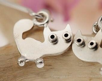 CAT Dangle Earrings Sterling Silver Mini Zoo series