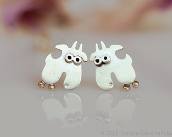 GOAT Sterling Silver Stud Earrings Mini Zoo