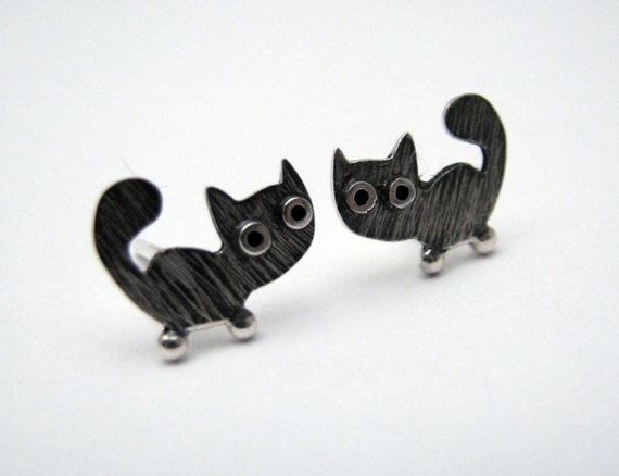Kitty CAT Stud Earrings Sterling Silver Oxidized Black Mini Zoo series