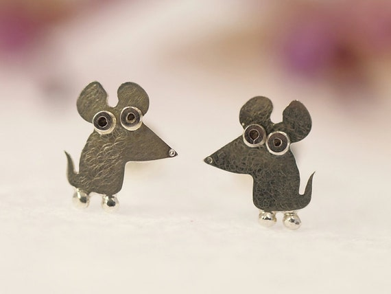 MOUSE Stud Earrings Sterling Silver Mini Zoo series