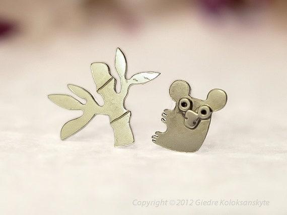 BAMBOO KOALA Stud Earrings Sterling Silver Mini Zoo series