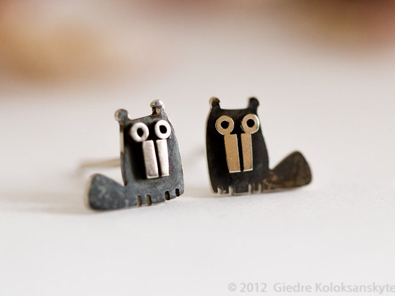 BEAVER Stud Earrings Sterling Silver Mini Zoo series