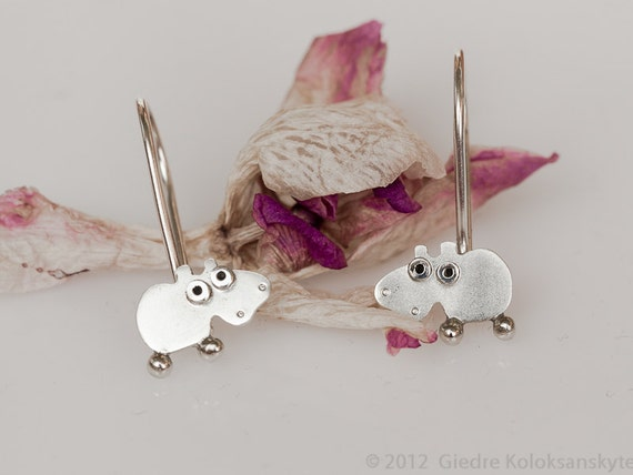 HIPPO Hook Earrings Sterling Silver Mini Zoo series