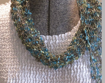 Hand Knit Scarf Greens and Turquoise, Long, Skinny, Fringe
