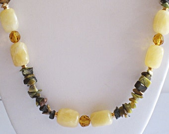 Aragonite, Yellow Turquoise & Gold Filled Necklace Handmade