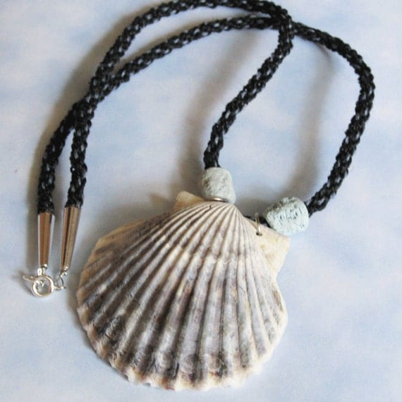 Kumihimo Braided Necklace in Blue & Black with Sea Shell Pendant Handmade